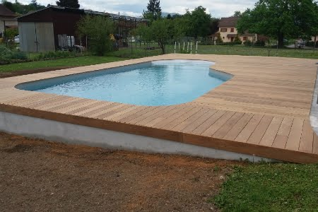 Plage en ipe autour duune piscine waterair with piscine - Margelle piscine waterair ...
